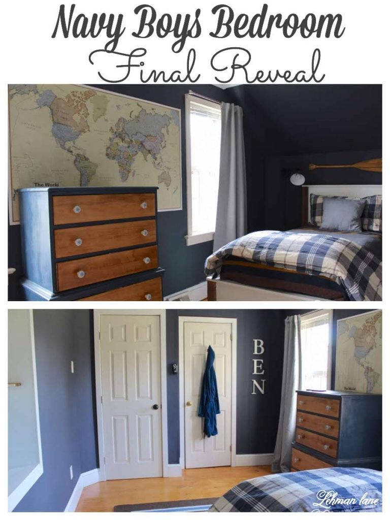 We transformed our son's bedroom from top to bottom. New bead board ceiling, wide pine floors, builts in, doorway & Hale Navy paint. #navybedroom #boysbedroomideas #farmhousebedroom https://lehmanlane.net