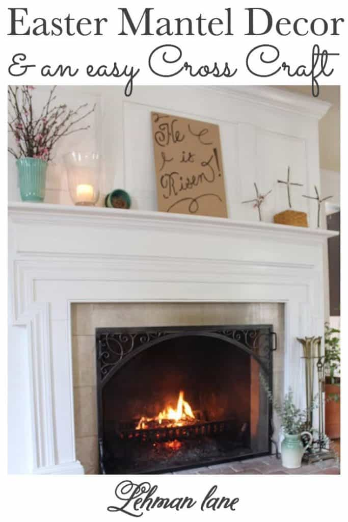 Sharing all my tips & tricks for how to create beautiful Easter mantel decor with an easy DIY cross craft with instructions & pictures. #easter #fireplacemanteldecor https://lehmanlane.net