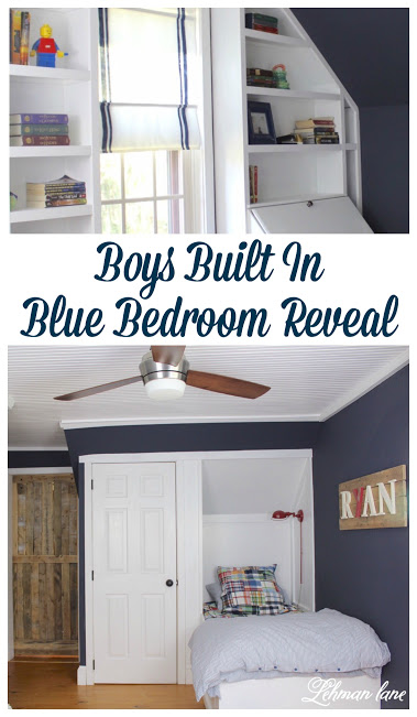 We completely transformed our son's bedroom for the One Room Challenge - Here's the Final Reveal - Boys Farmhouse blue Bedroom, Built in bed, dresser, bead board ceiling, wide pine floors, Benjamin Moore Hale Navy walls, and an angled door http://lehmanlane.net