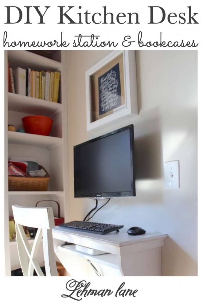 Sharing all the details of our new Built in DIY Kitchen Desk for a Computer & Homework Station with Built in Bookcases for the kids with pictures. #diydesk #homeworkstation https://lehmanlane.net