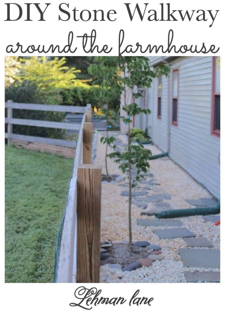 Sharing all the Details & Ideas of How we Built a DIY Stone walkway around our farmhouse with flagstone & pea gravel & steps. #walkway #gardenpathway #diy #farmhouse #stone #stonestep #backyardideas https://lehmanlane.net