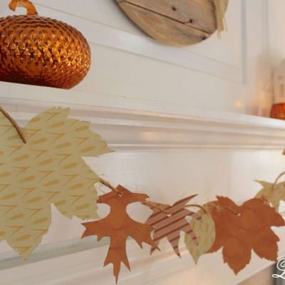 Simple DIY Fall Garland Craft and Fall Mantel Decor with pops of orange