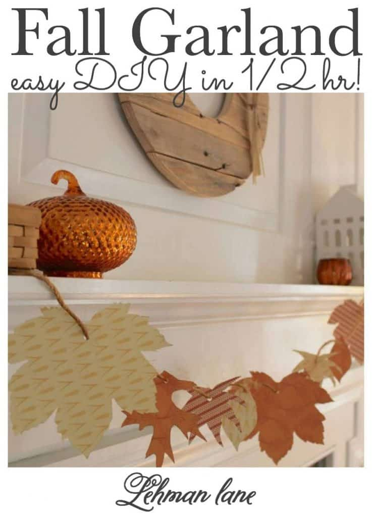 Looking for a quick & simple Fall craft idea?  I am sharing how to make this DIY fall garland for the fall fireplace mantel in less then 30 minutes for FREE from start to finish. #fallgarland #fallcrafts #diy #fallmantel #fall #fallfarmhouse #fallhomedecor  https://lehmanlane.net