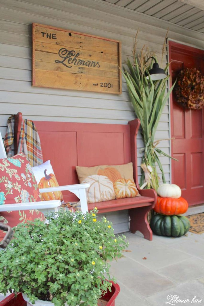 Fall front porch - Farmhouse sign, entryway bench, rockers, cornstlaks, pumpkins and mums