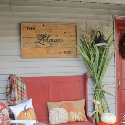 Fall front porch - red bench rocking chair