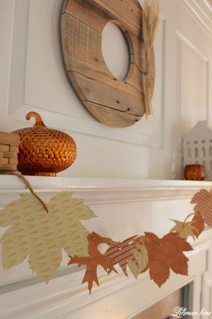 DIY Fall Garland and a simple fall mantel #fallmantel #fallfarmhouse https://lehmanlane.net