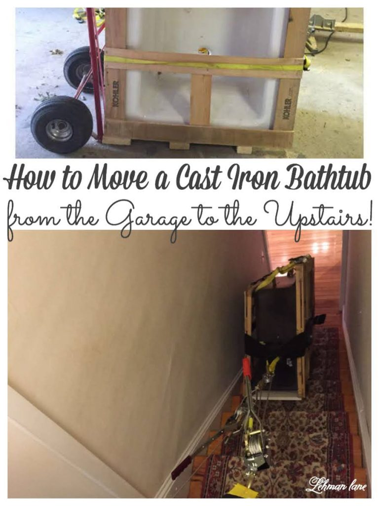 If you have a HEAVY cast iron bathtub to move we are sharing how we moved our tub from the garage to our 2nd floor boys bathroom #castirontub  #bathtub #ad #bathroomreno #movingtips https://lehmanlane.net