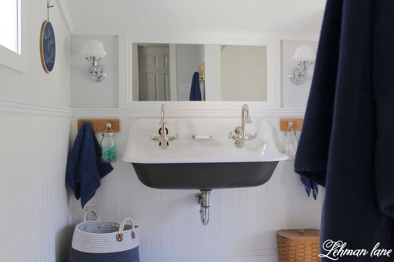 We transformed our boys bathroom from top to bottom - sherwin williams spatial white, vinyl bead board ceiling and walls and kohler toilet #bathroom http://lehmanlane.net