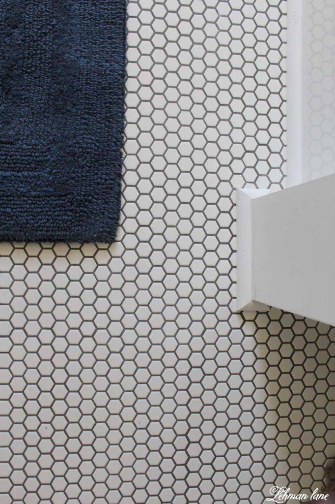 Farmhouse Boys Bathroom - white hexagon tile and gray grout