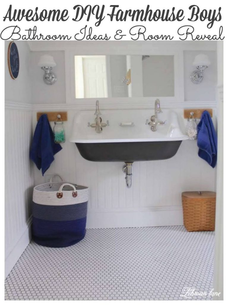 We transformed our farmhouse boys bathroom from top to bottom. Ours boys bathroom has a new wall mounted sink, bead board ceiling & walls, built in bookcase & cast iron tub add so much character to our century's old farmhouse.Stop by to see how we did #boysbathroom #farmhousebathroom #kidsbathroom https://lehmanlane.net