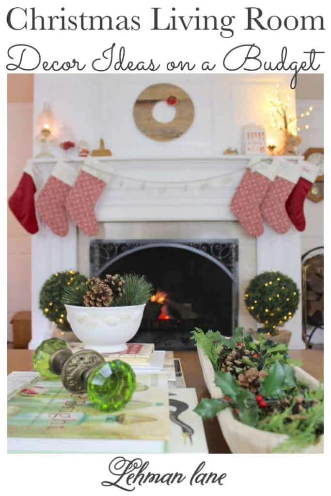 Sharing all the details of our Christmas living room with my fireplace mantel & Christmas tree decor ideas on a budget along with pictures. #christmas #Christmashomedecor #farmhouse https://lehmanlane.net