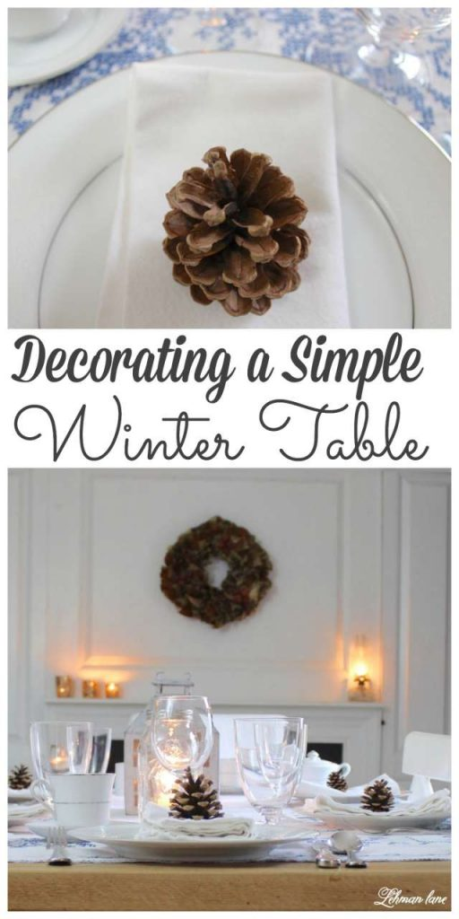 I set a pretty winter table just because it was Friday night. Stop by to see how I created this simple winter tablescape. #winter #tablescape http://lehmanlane.net