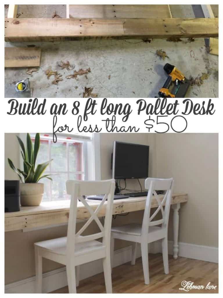 We built an awesome pallet desk for our basement. It cost less than $50 to make and it is the perfect size to hold 2 computers & printer. #palletprojects #office #workspace #builtindesk #desk https://lehmanlane.net