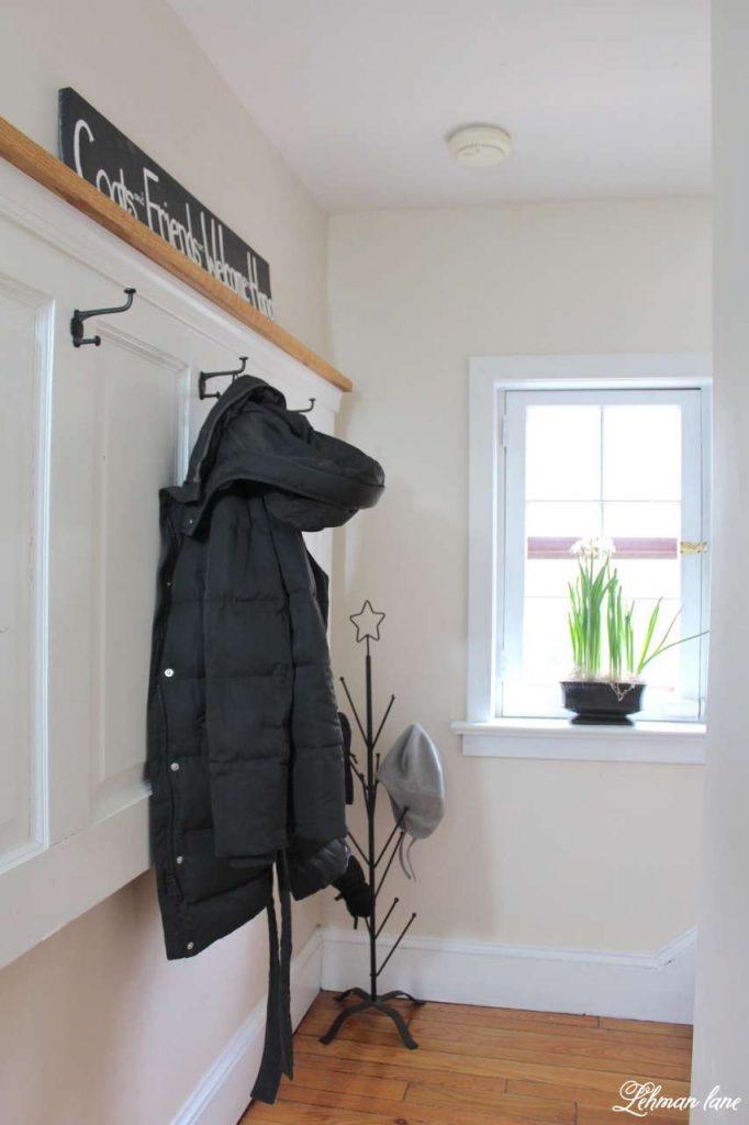 Winter Home Tour - entryway and door coat rack and mitten tree