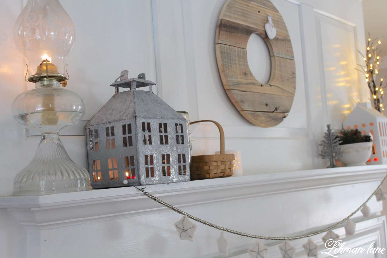 winter mantel decor for our farmhouse mantel #winter