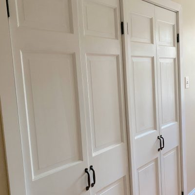 We gave our old bi-fold doors a makeover and changed them into hinged doors in just 1 day! #closetdoors #closet #doormakeover https://lehmanlane.net
