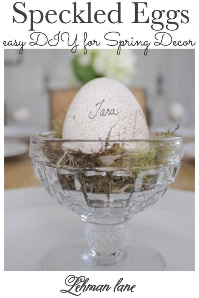 Sharing how to make pretty DIY speckled eggs to decorate for Spring including instructions & pictures. #springcrafts #easter #eggs https://lehmanlane.net