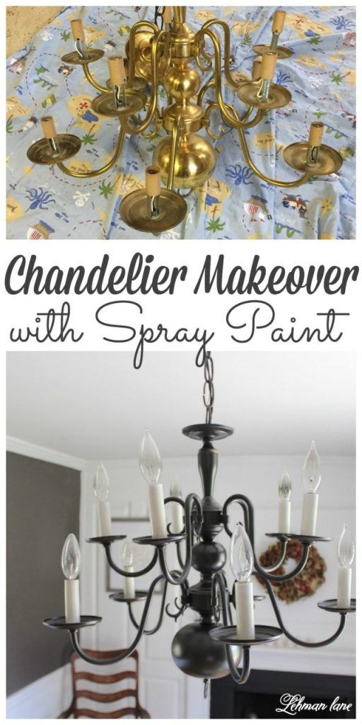 Looking for an easy chandelier makeover! Stop by to see how we transformed my dining room chandelier with spray paint #spraypaint #diningroom #lighting #chandelier https://lehmanlane.net