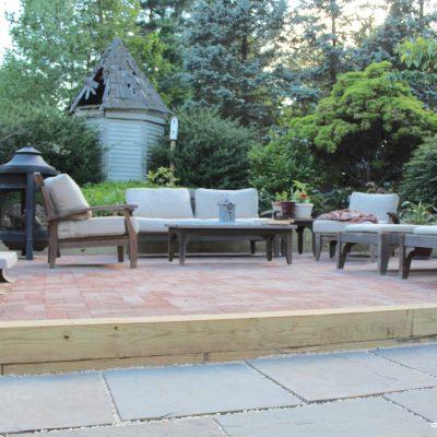 DIY Brick Patio, Sunken Patio in our Farmhouse Backyard