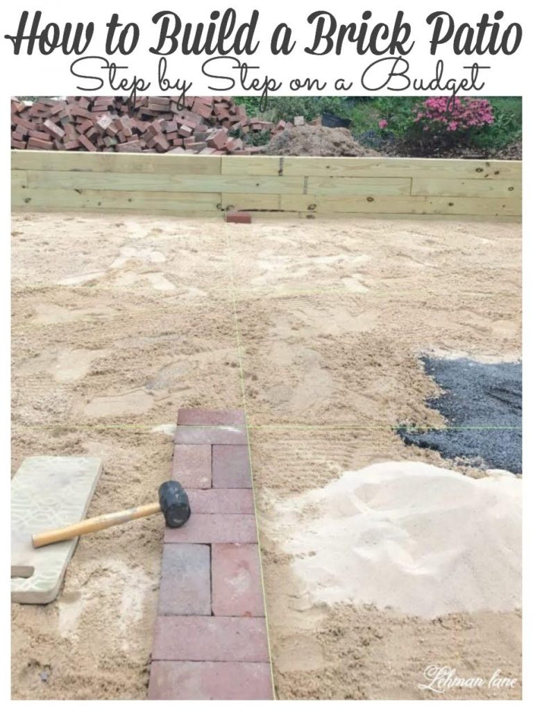 Sharing all the tips & tricks for how to lay an Amazing DIY brick patio over dirt using reclaimed bricks on a budget! #brickpatio #patiomakeover #diypatio https://lehmanlane.net