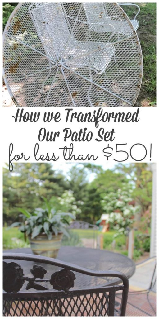 With no money in the budget for an outdoor furniture we had to get creative with what we already had. Stop by to see how we transformed our trash picked vintage patio set for less than $50! #furntiureredo #upcycle #patioset #spraypaint http://lehmanlane.net