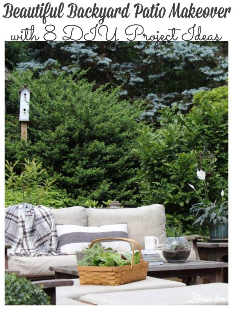 We transformed the backyard of our farmhouse by taking down a deck, adding a brick & flagstone patio, building a retaining wall & garden arbor, landscaping & more! #patiomakeover #diy #outdoordiy #backyardideas #farmhousepatio https://lehmanlane.net