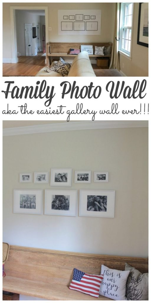I wanted to add something special above our newest farmhouse pew so I added a family photo wall.  Gallery walls might seem intimating, expensive and just plain overwhelming to start but I put this one together by myself in less than an hour for $65 including the photos!!! #gallerywall #photowall #walldecor http://lehmanlane.net