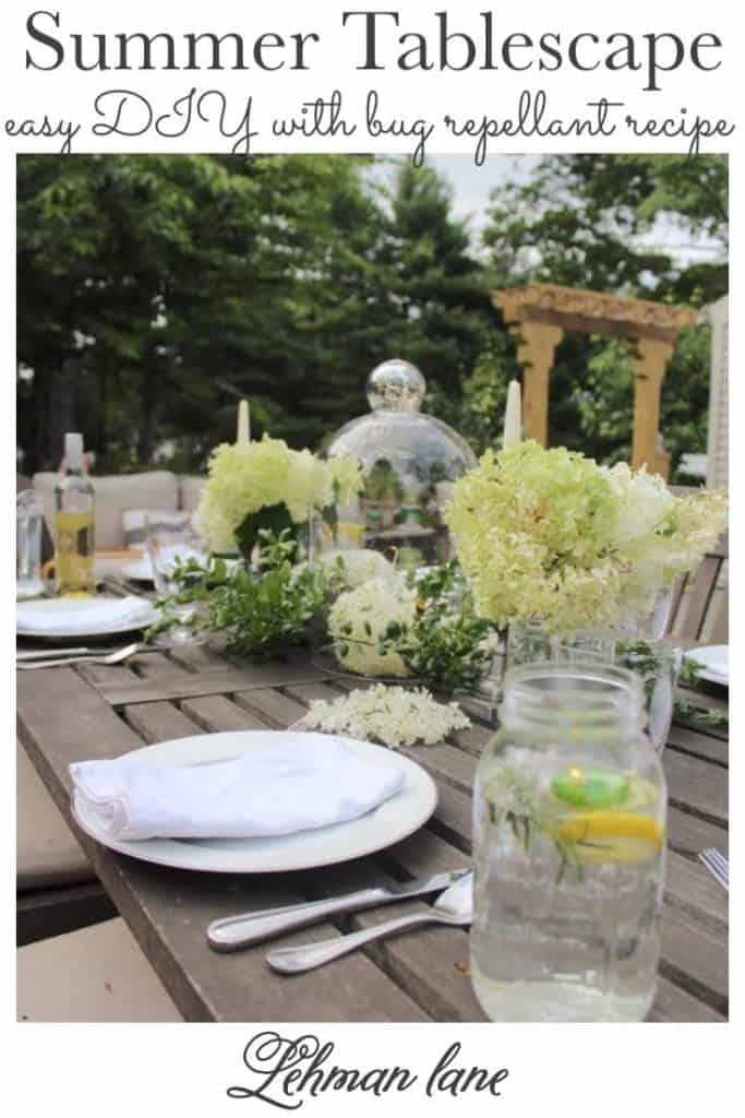 Sharing all the tips, tricks & ideas for how to create a simple, beautiful & fancy outdoor summer tablescape with a recipe for DIY bug repellant along with 8 more summer tablescape ideas from my blogging friends with pictures! #summertablescape #alfresco #summerpartyideas https://lehmanlane.net