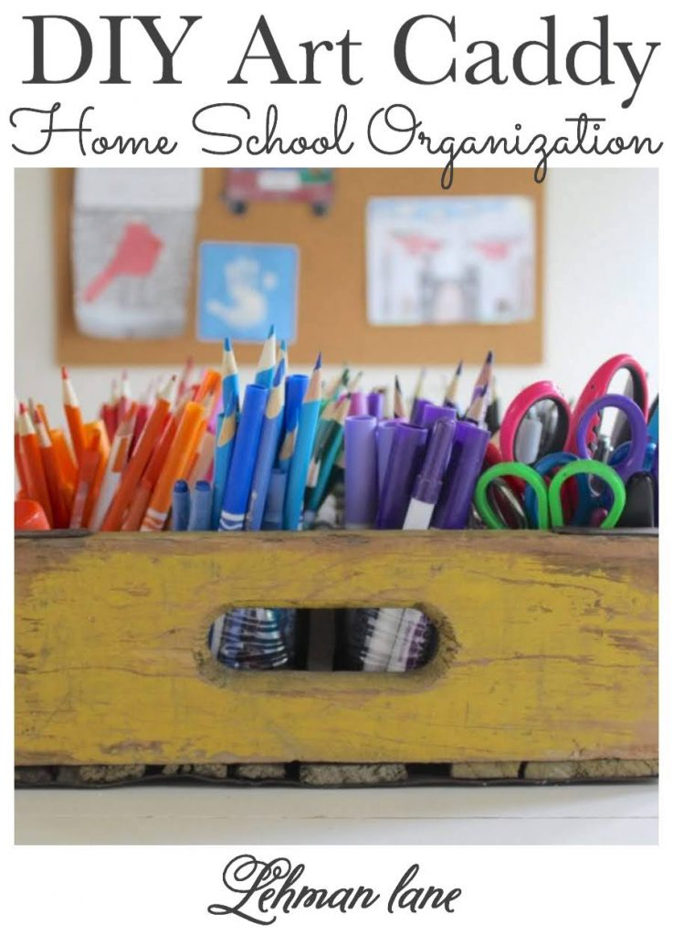 Sharing an Easy DIY for to transform an old wooden beverage crate into a DIY Art Caddy to keep ALL your kids art supplies & pencils organized when doing homework, virtually schooling or home school. #homeschool #homeschoolorganization #classroommanagement https://lehmanlane.net.