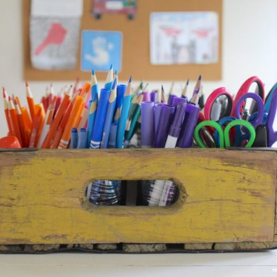 DIY Art Caddy from an Old Beverage Crate - Back to Basics and Back to School