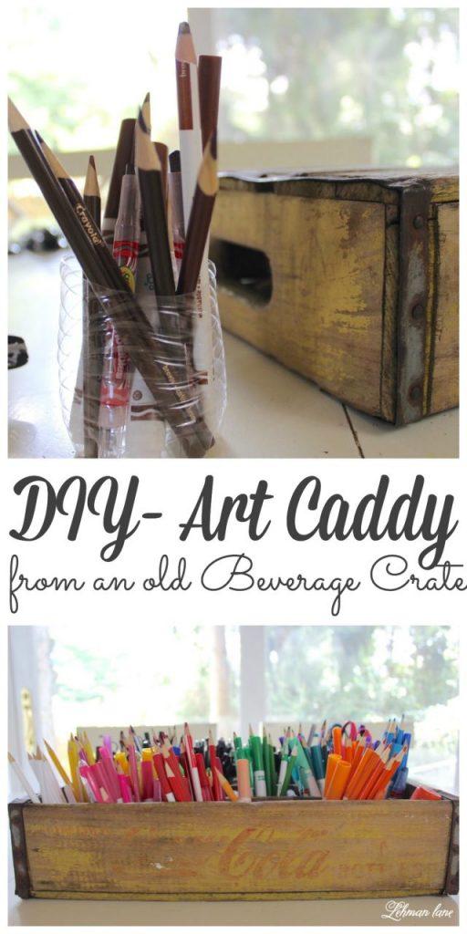 DIY Art Caddy from an Old Beverage Crate - coke crate #artcaddy #backtoschool https://lehmanlane.net