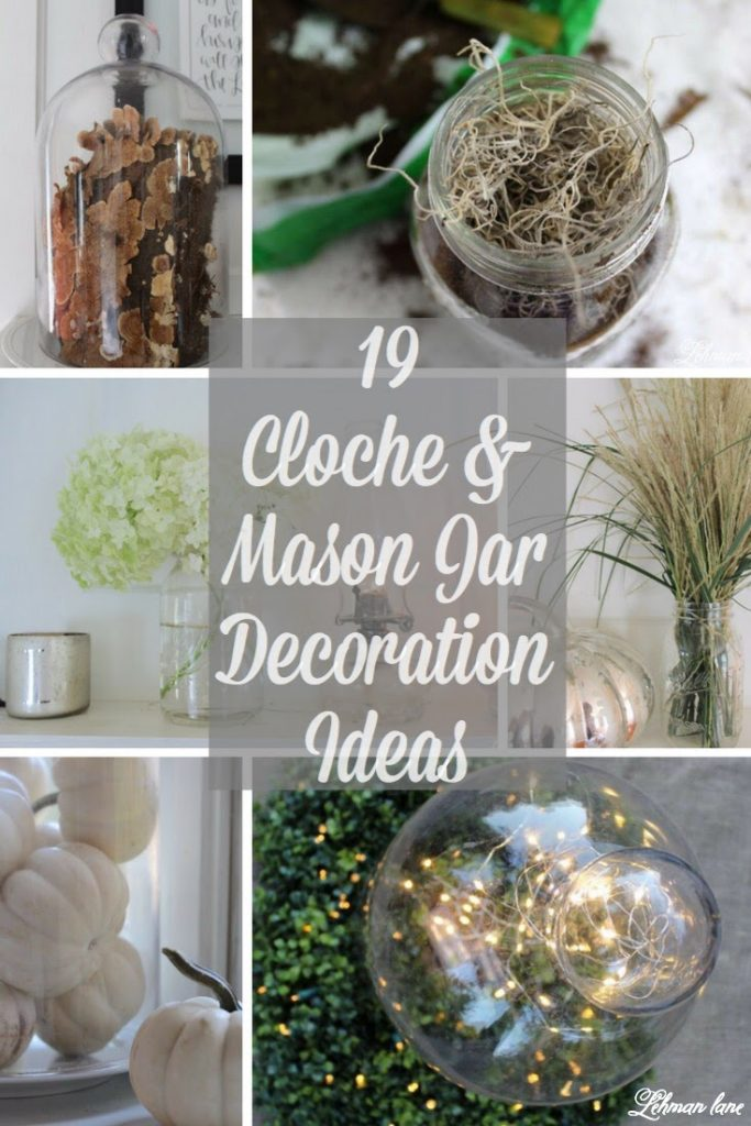 I am all about simple & pretty decoration ideas for our farmhouse.  Glass mason jars & cloches look beautiful & can be changed out just as quickly as your imagination.  Check out my cloche & mason jar decoration ideas throughout the seasons. #masonjars #balljars #masonjarideas #cloches https://lehmanlane.net