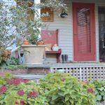 front porch planters for our pergola - farmhouse, stone planters, fall porch #fallporch #frontporch http://lehmanlane.net