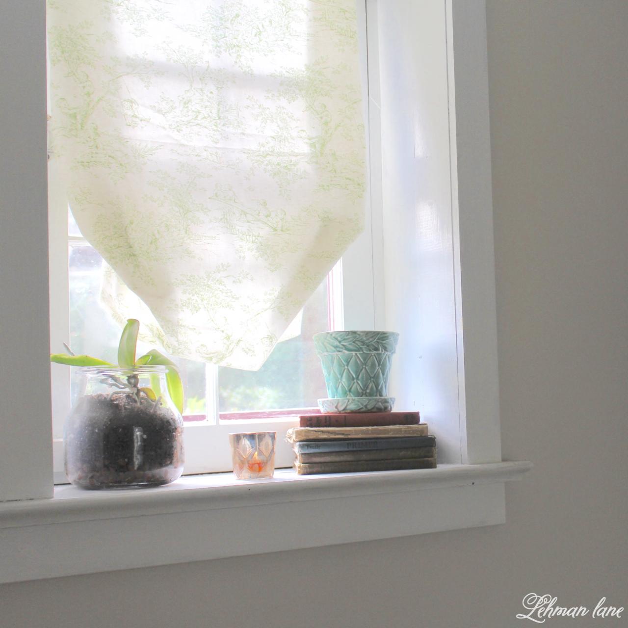 DIY Balloon Shade - bathroom window #ballonshade #diy #fabricshade http://lehmanlane.net