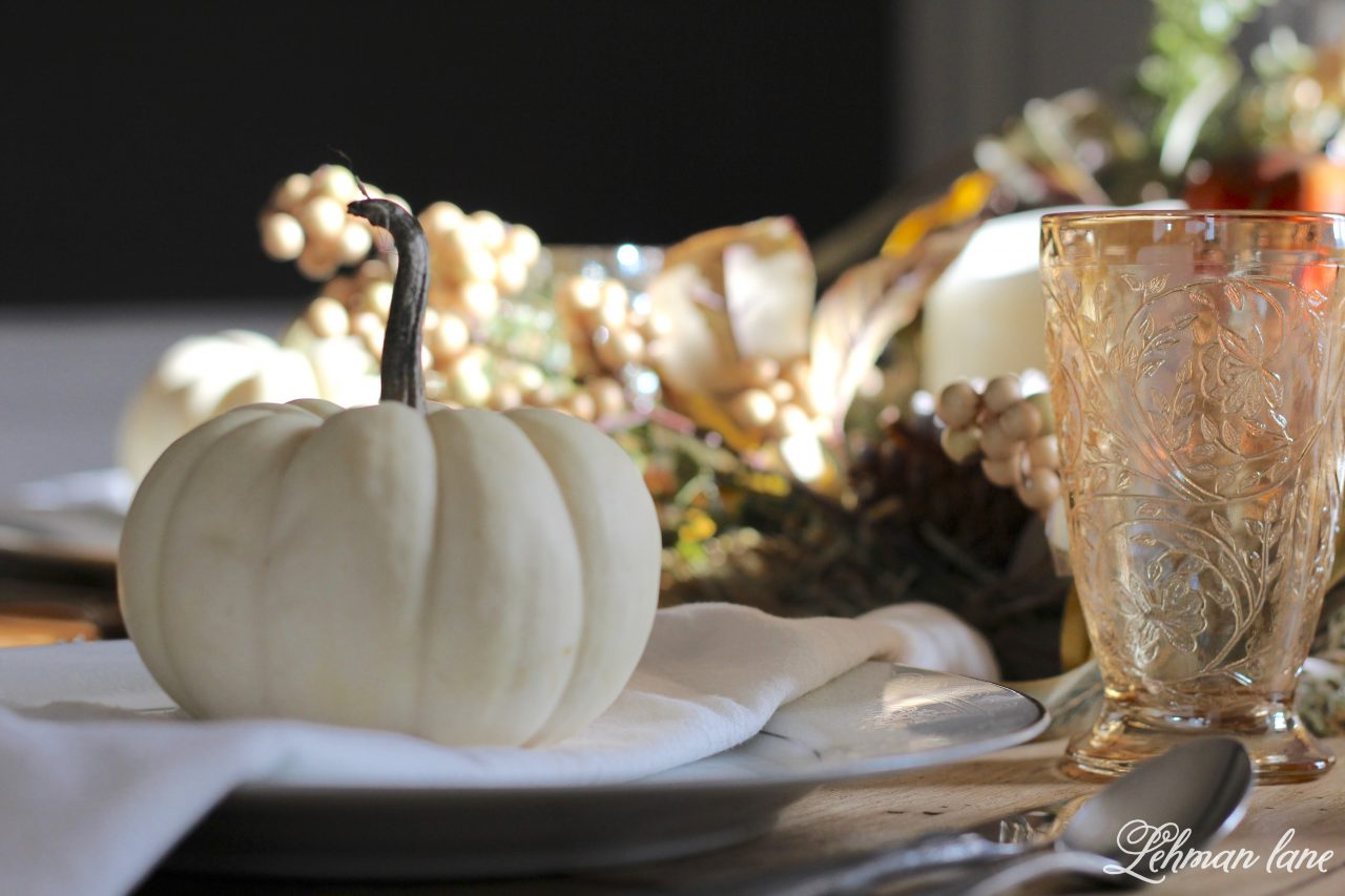 Fall Tablescape for Thanksgiving - Farmhouse Dining Room - white pumpkin place setting