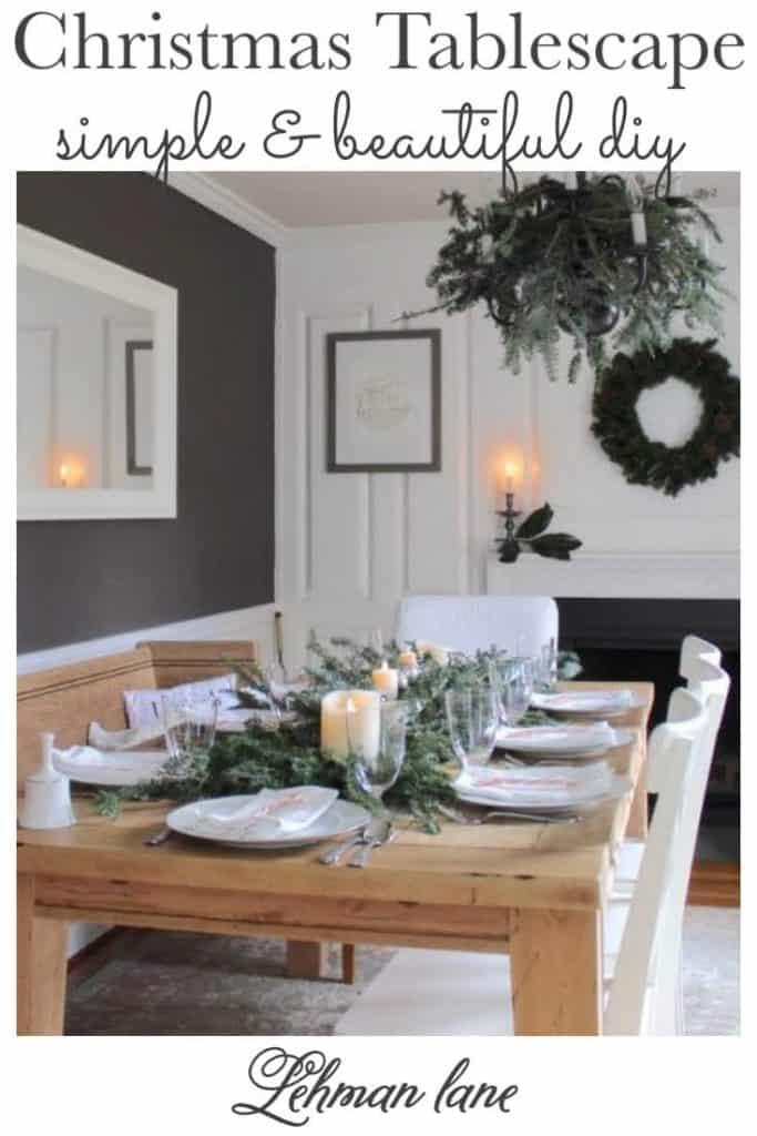 Sharing my Simple & Beautiful Easy DIY Christmas Tablescape Ideas with live greenery, candles & pictures included! #christmas #farmhouse #christmastablescape https://lehmanlane.net
