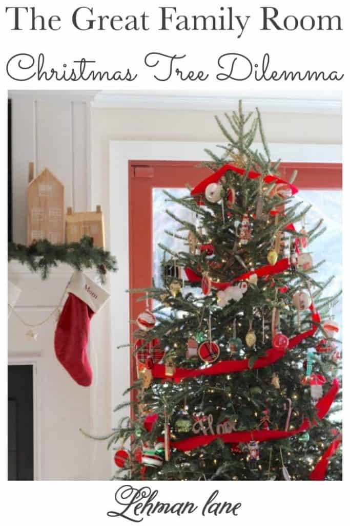 Sharing all the details of our family room Christmas Decor & decorating ideas with a family room Christmas tour including our Christmas tree dilemma story with pictures! #christmastree #familyroom #christmas #farmhouse https://lehmanlane.net