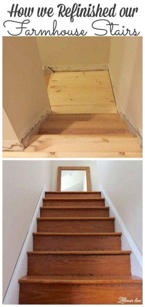 Sharing how we refinished our farmhouse stairs from begining to end #diy #stairs #farmhouse http://lehmanlane.net