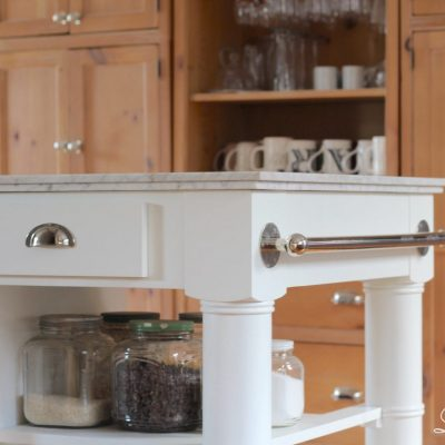 I am happy to announce we are more than halfway through our kitchen remodel and we have a new kitchen island, woo hoo! Barrelson kitchen island for our farmhouse kitchen #kitchenisland #farmhousekitchen