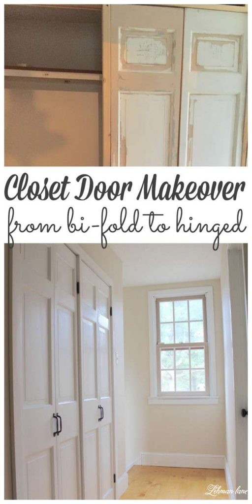We gave our old bi-fold doors a makeover and changed them into hinged doors! #closetdoors #closet https://lehmanlane.net