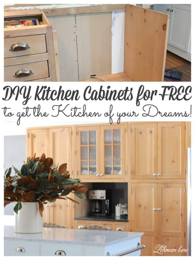 Save money on your kitchen remodel by reworking & DIYing the kitchen cabinets you already have! #farmhousekitchen #kitchencabinetmakeover #woodkitchencabinets #woodcabinetskitchen #diykitchencabinets https://lehmanlane.net