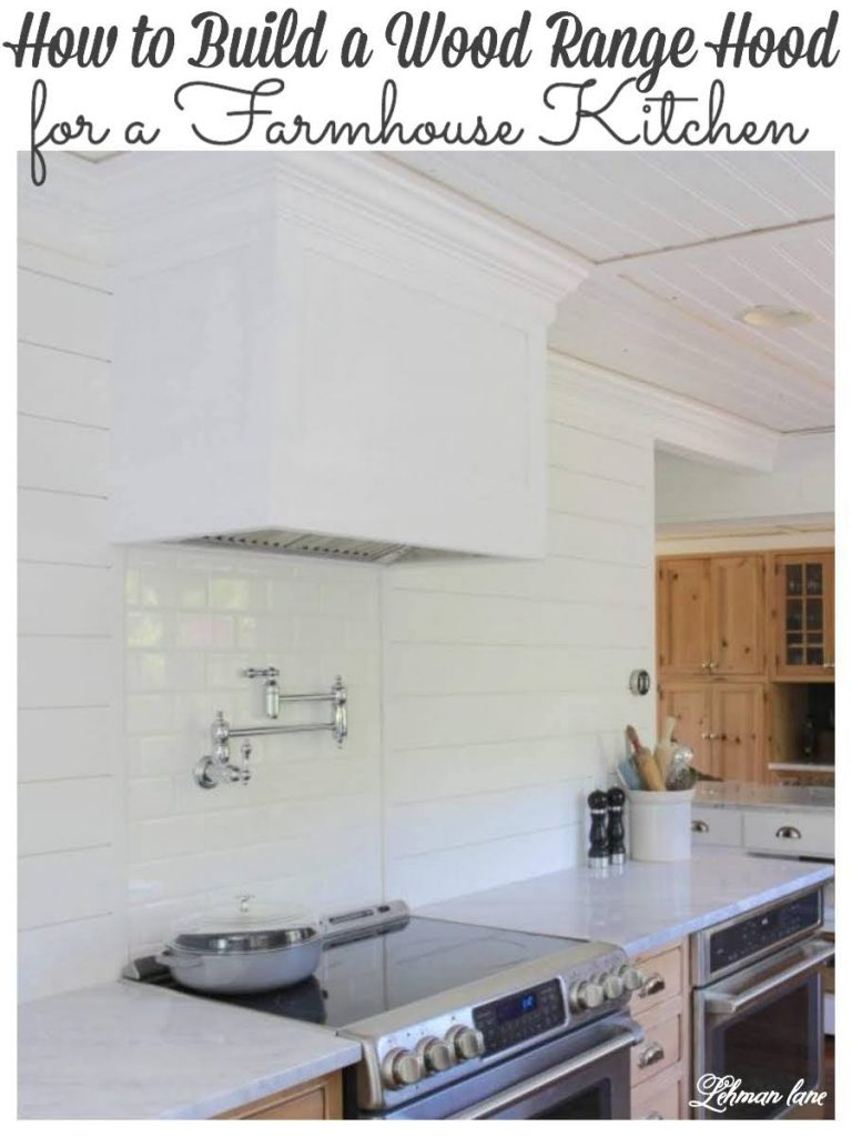 To save money we DIYed a simple wood range hood cover for our farmhouse kitchen. Our new white range hood with white subway tile back splash looks beautiful & brightens up our former dark kitchen! #woodventhoodcover #farmhousekitchen #whitekitchen #woodcabinets https://lehmanlane.net