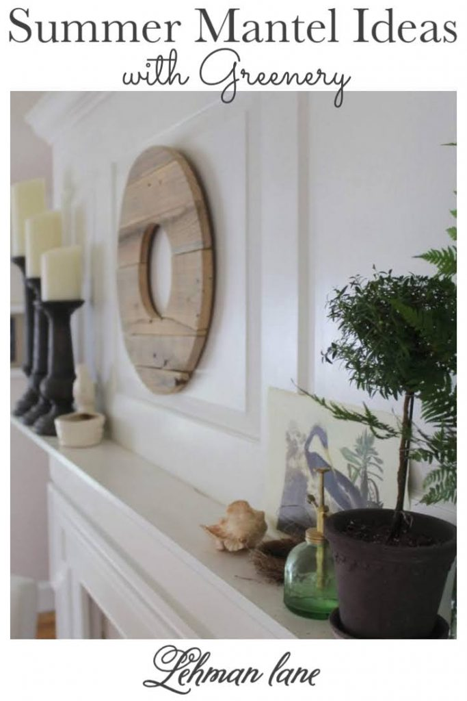 Decorating a fireplace mantel in the summer can be tricky, today I am sharing all the details of how to decorate a gorgeous summer mantel with greenery & farmhouse style! #summer #fireplacemanteldecor #farmhouse https://lehmanlane.net