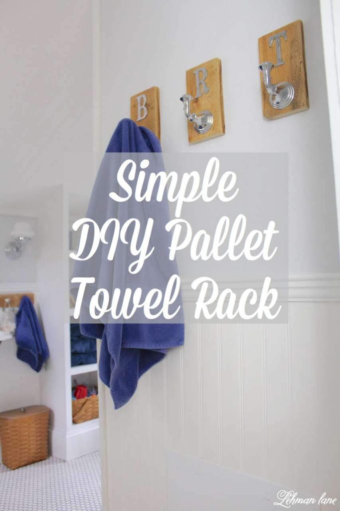DIY Pallet Towel Rack - sharing a step by step tutorial for how we created 2 different DIY pallet towel racks for our boys bathroom #towelrack #palletprojects http://lehmanlane.net