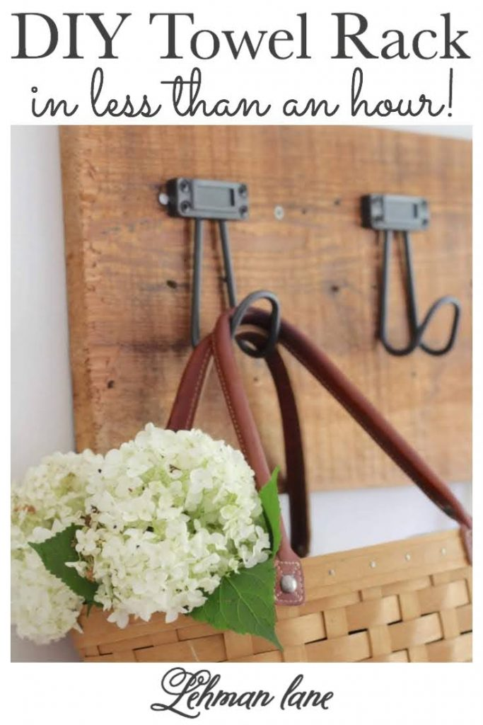 I created this beautiful, heavy duty & inexpensive DIY towel rack for our farmhouse kitchen in less than an hour. Sharing my simple step by step instructions for how to make a simple & easy DIY towel rack of your own to hang coats, aprons, bags, baskets & towels. #diyprojects #storageandorganization #woodprojects #towelrack https://lehmanlane.net