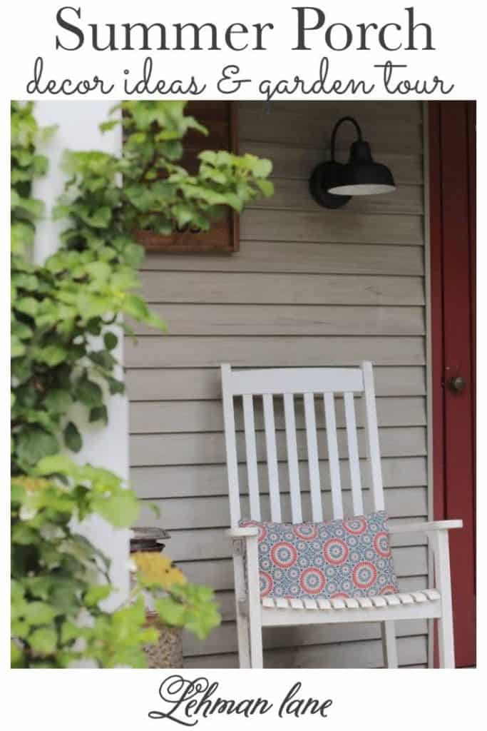 Sharing all the details of how to decorate a beautiful & classic summer porch with DIY front porch Decor ideas & a summer garden tour with 7 more summer outdoor decorating & gardening ideas from my blogging friends with pictures. #summerporch #summergarden #farmhousefrontporch https://lehmanlane.net