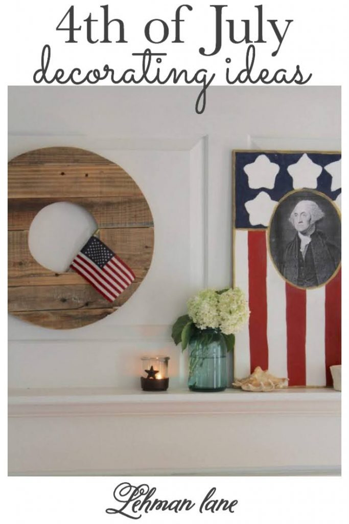 Farmhouse 4th of July Decorating - is as simple as you make it. It calls for a collection of vintage & unexpected red, white & blue items from around your home, hydrangeas & of course old glory!Stop by to see how I decorate for Independence Day for Free! #fourthofjuly #4thofjuly #farmhousestyle https:lehmanlane.net