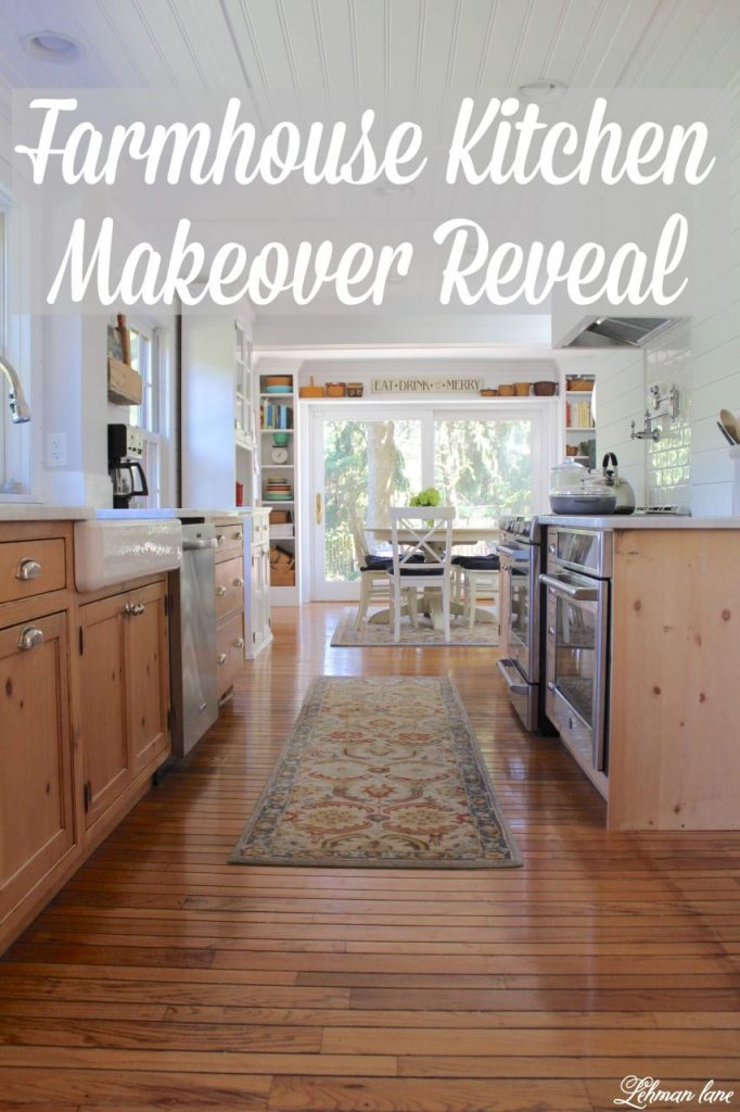 Farmhouse Kitchen Makeover Reveal - The time has FINALLY come to share our farmhouse kitchen makeover! We wanted a brighter, bigger, more modern, family friendly kitchen that we could entertain in. Ten months later and for less than $15,000 we remodeled this kitchen from top to bottom and I CAN NOT believe the difference! #farmhousekitchen https://lehmanlane.net