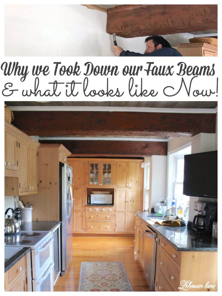 Taking Down the Faux Beam & Faux Wood Ceiling - These days people are adding faux beams to their ceilings but today I am sharing why we decided to take them down & what our farmhouse kitchen looks like now! #fauxbeam #beadboard #beamceiling #diy #fauxwoodbeams #woodceilingideas https://lehmanlane.net