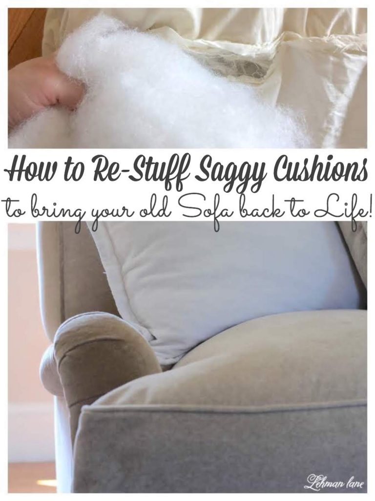 Do you have an old sofa or couch that has started to look pretty sad & saggy? Sharing how to re-stuff your old sofa cushions & bring them back to life for just $25. #sofa #couch #sofaideaslivingroom #livingroomideasonabudget https://lehmanlane.net https://lehmanlane.net